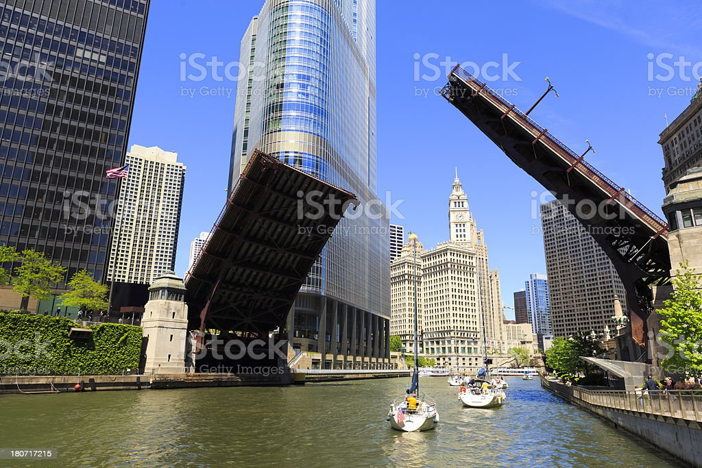 Sailboats on Chicago River stock photo
