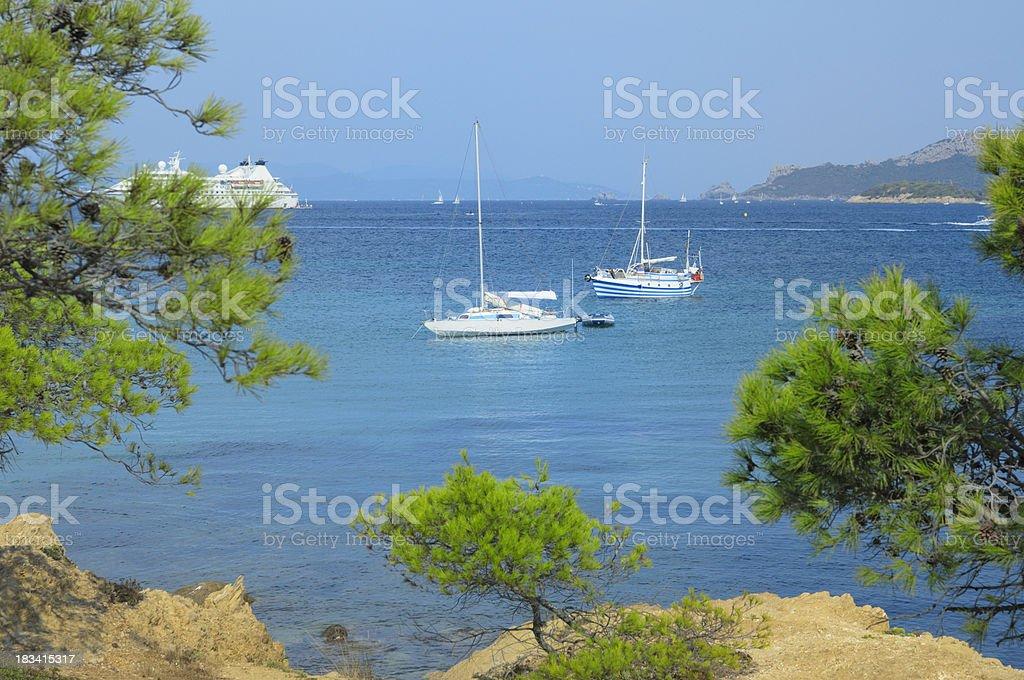 Sailboats on French Riviera royalty-free stock photo