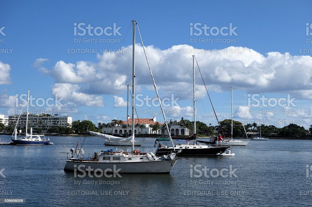 Sailboats on Intracoastal Waterway at West Palm Beach. stock photo
