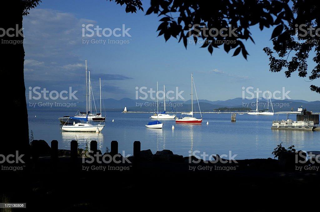 Sailboats on Lake Champlain royalty-free stock photo