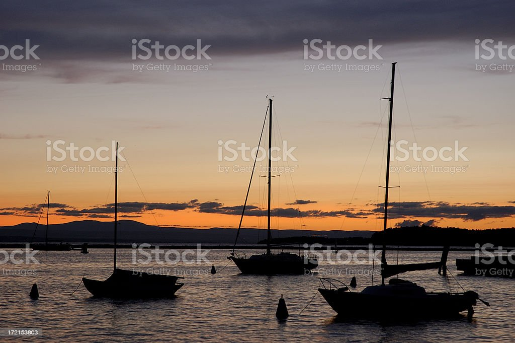 Sailboats on Lake Champlain stock photo