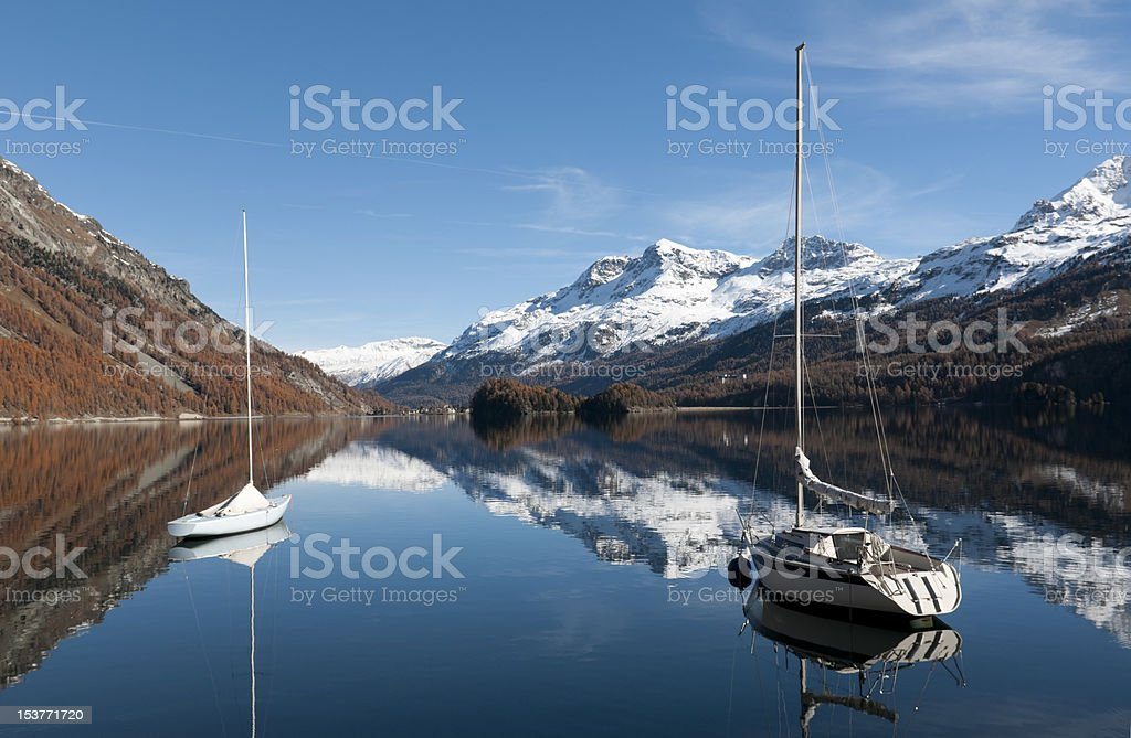 Sailboats on the lake of Silvaplana near St. Moritz stock photo