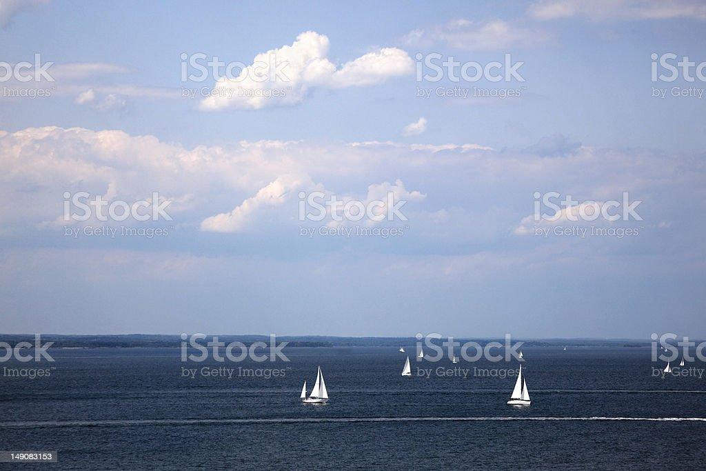 Sailboats on the Long Island Sound stock photo