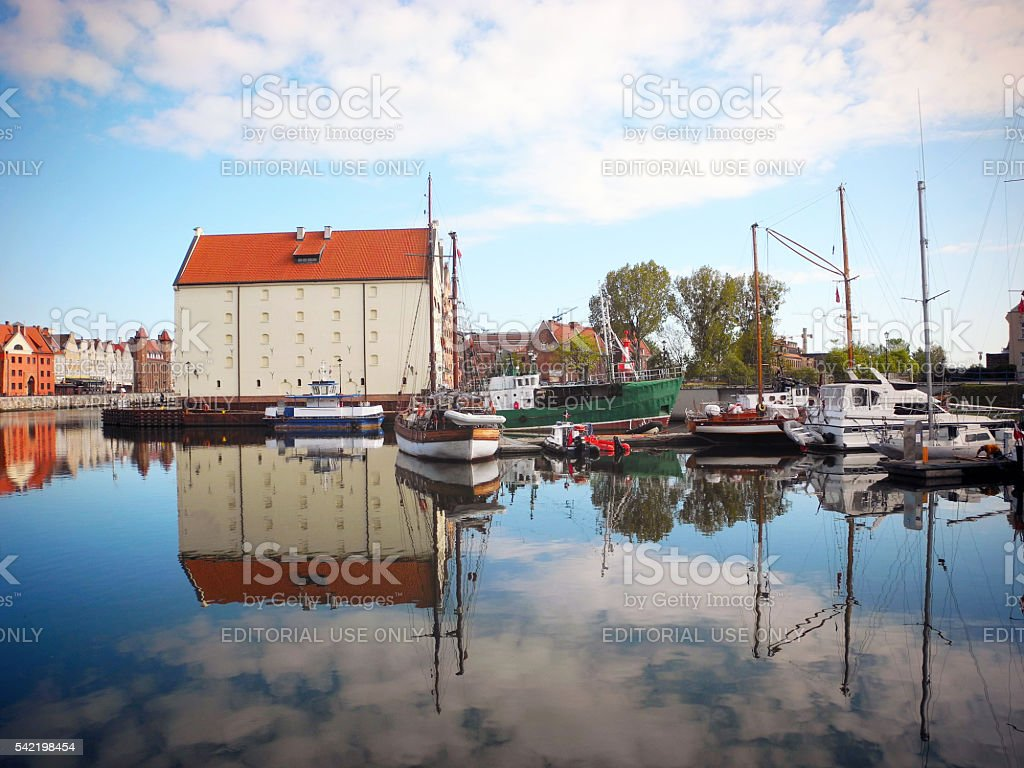 Sailboats on the river Motlawa in Gdansk. stock photo