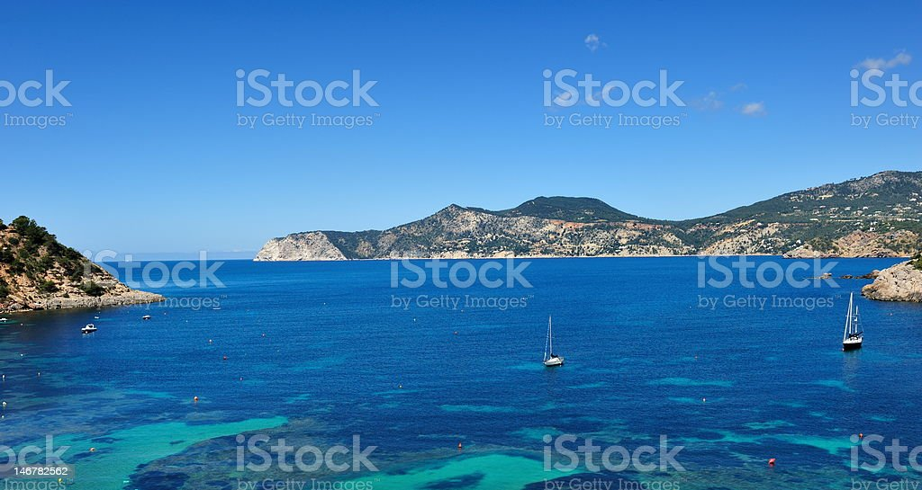 Sailboats on the west coast of Ibiza royalty-free stock photo
