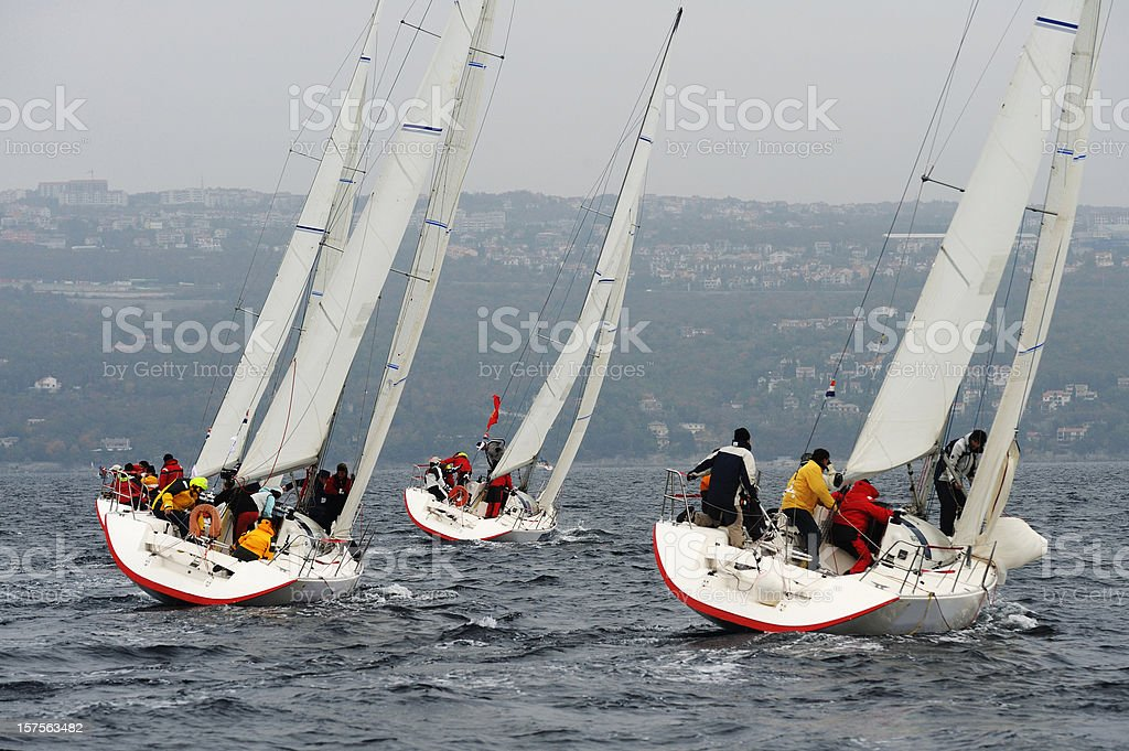 Sailboats racing at regatta stock photo