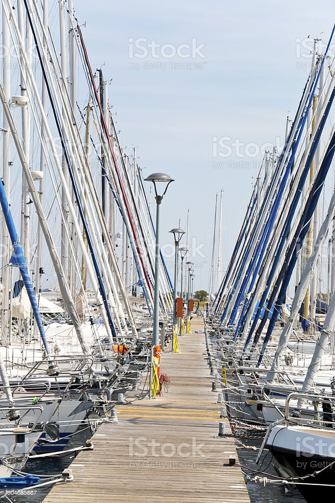 Sailboats side by side royalty-free stock photo