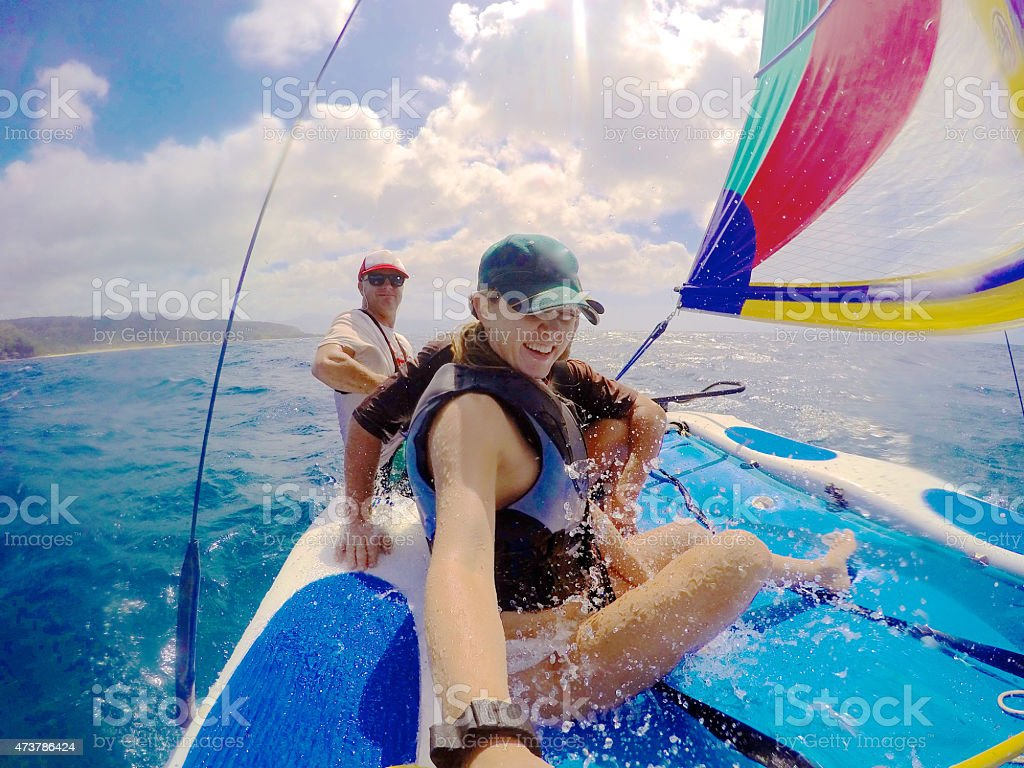 Sailin a Hobie Cat with Friends on a Windy Day stock photo