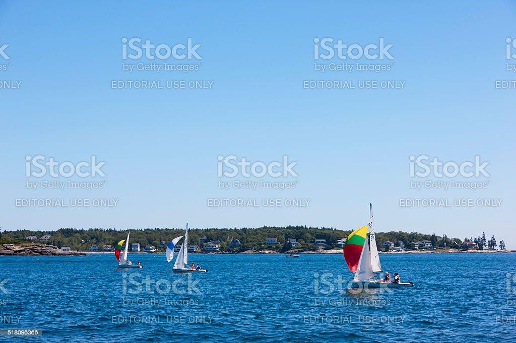 Sailin with spinnakers along the Maine Coast stock photo