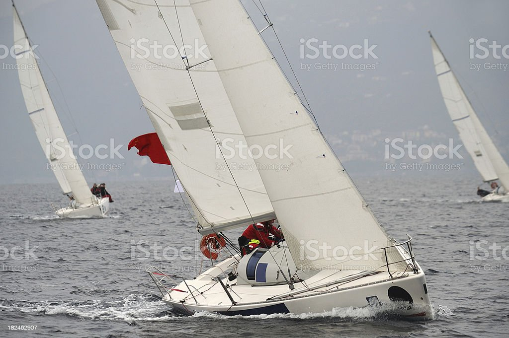 Sailing against the wind and leaning royalty-free stock photo