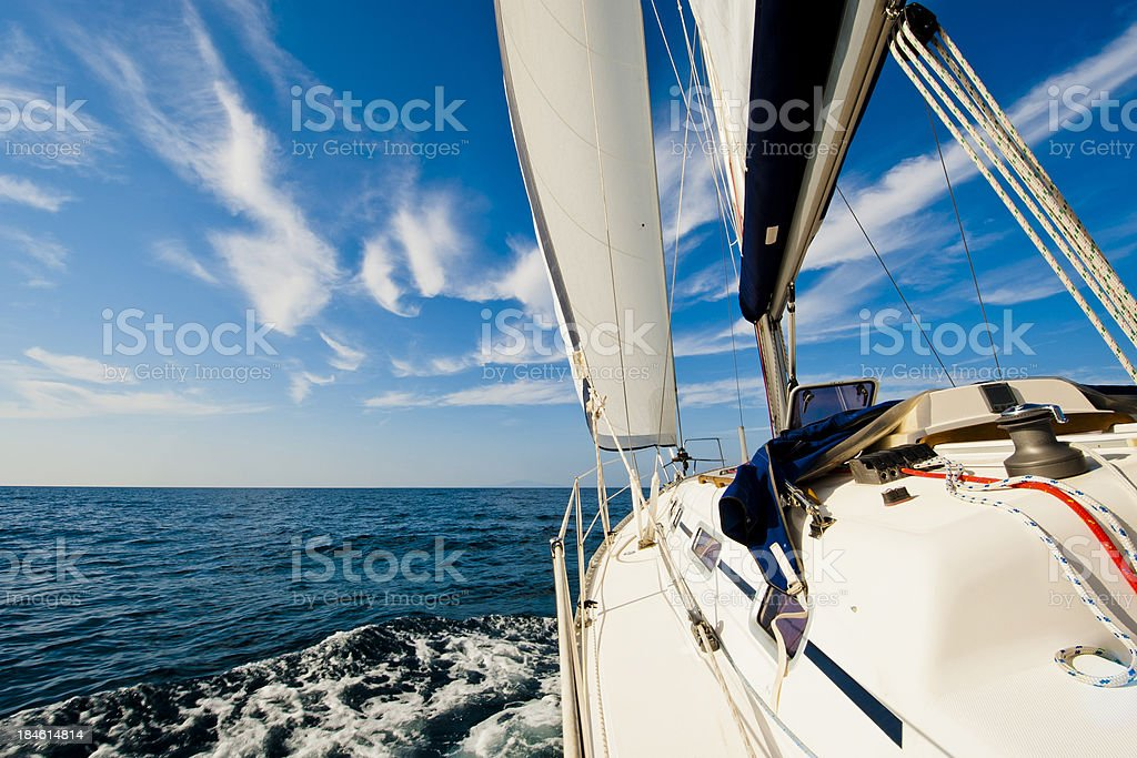 Sailing against the wind stock photo