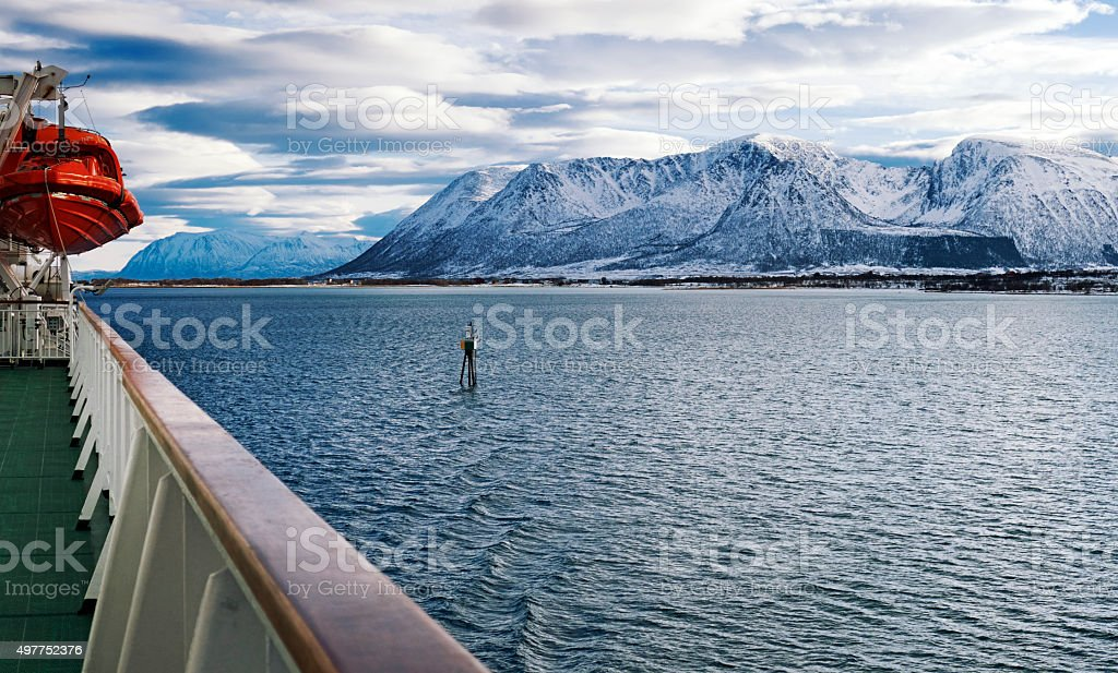 Sailing along the coastline of the Lofoten and Vesteral Islands, Norway stock photo