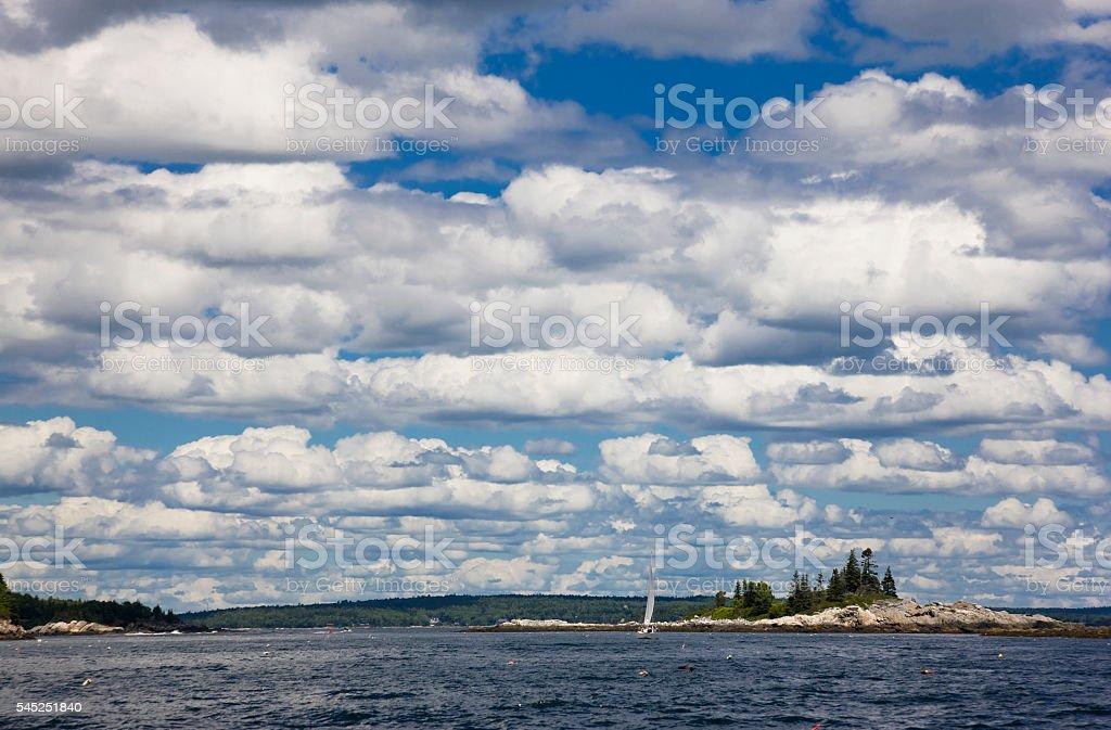 Sailing along the Maine Coast stock photo