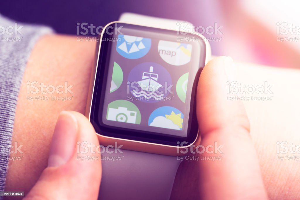 Sailing application on smart watch touchscreen stock photo