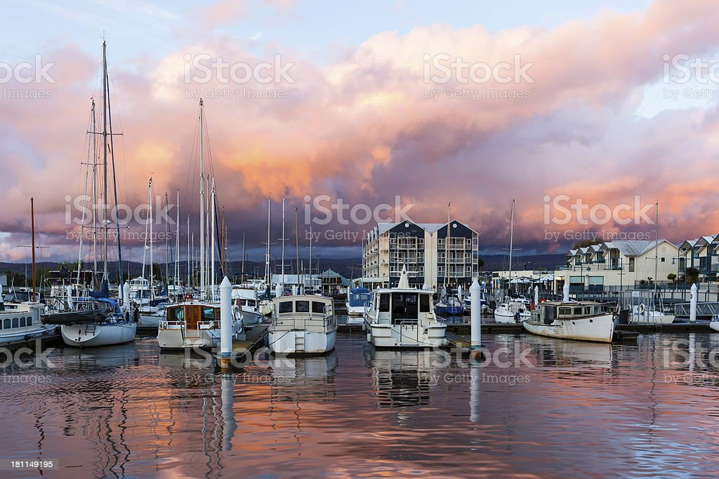 Sailing at dusk royalty-free stock photo