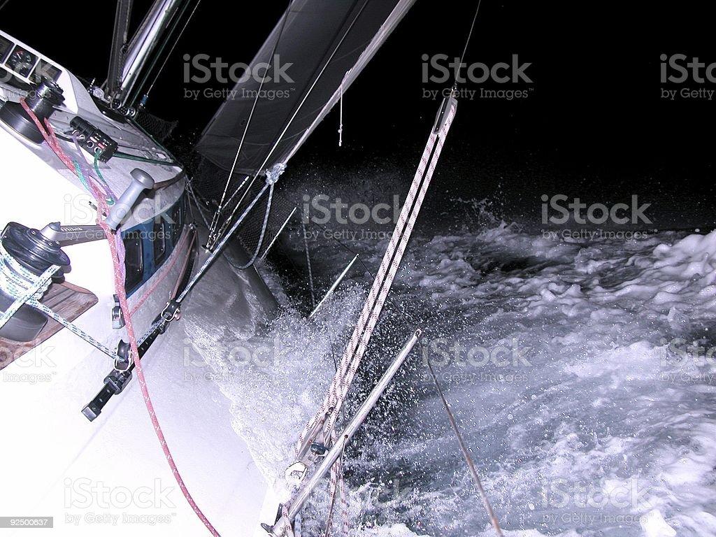 sailing at night royalty-free stock photo