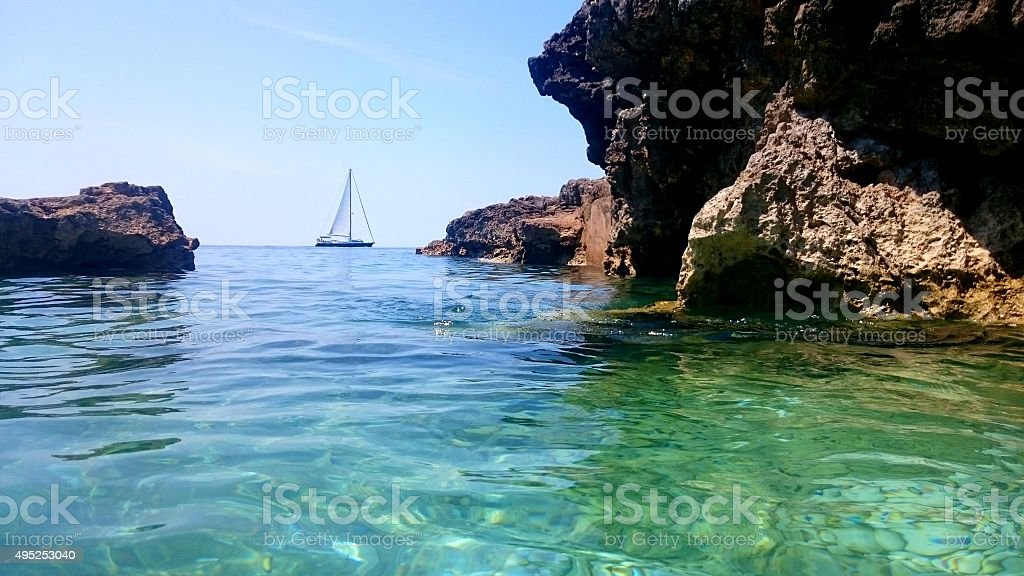Sailing at Pula stock photo
