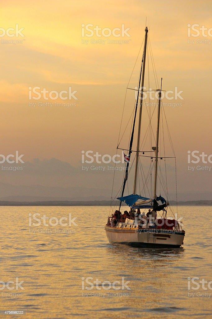 Sailing at Sunset stock photo