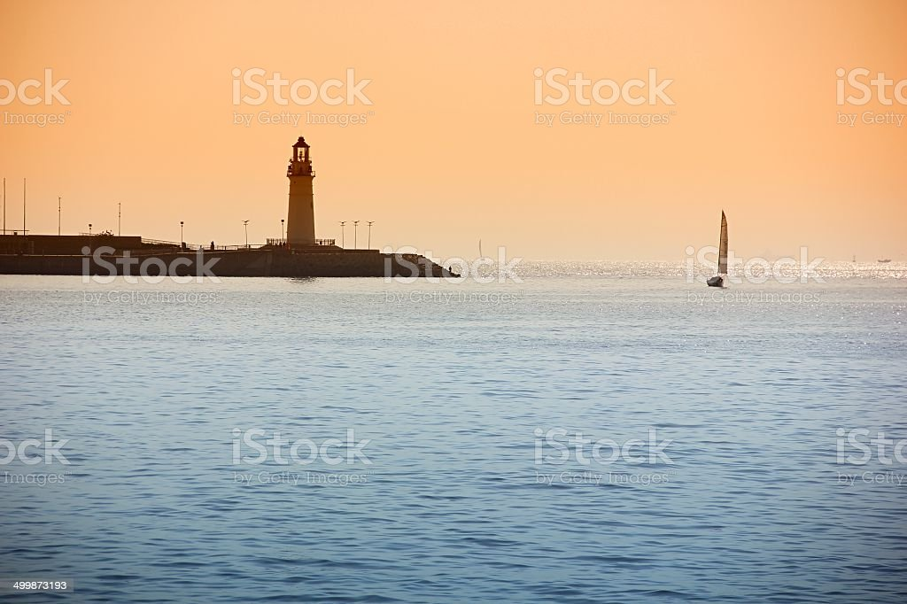 Sailing at Sunset royalty-free stock photo