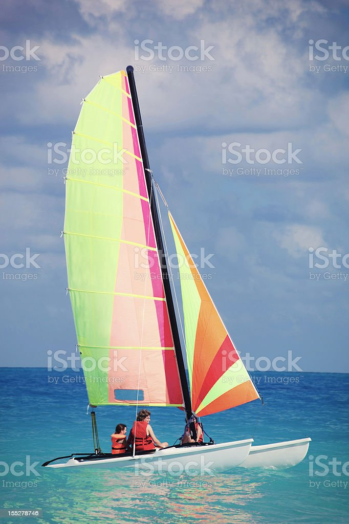 Sailing at the beach stock photo