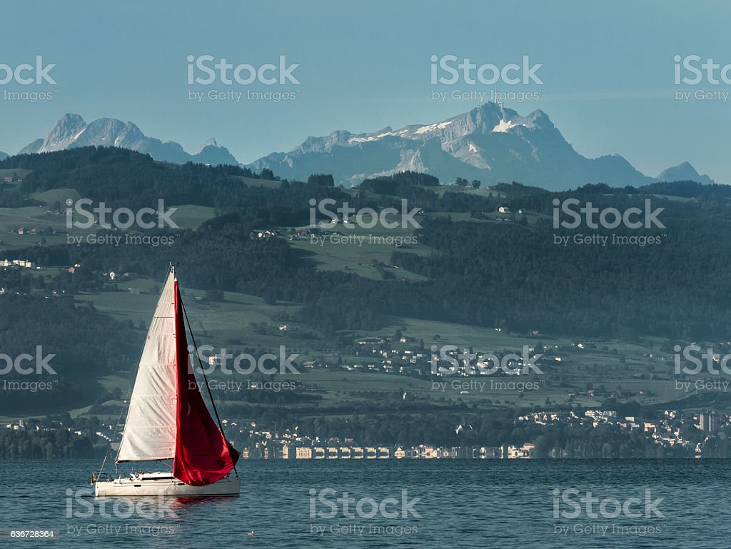 Sailing at the Lake Constance - Germany stock photo