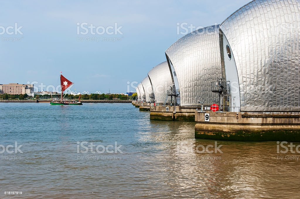 Sailing Barge and the Thames Barrier stock photo