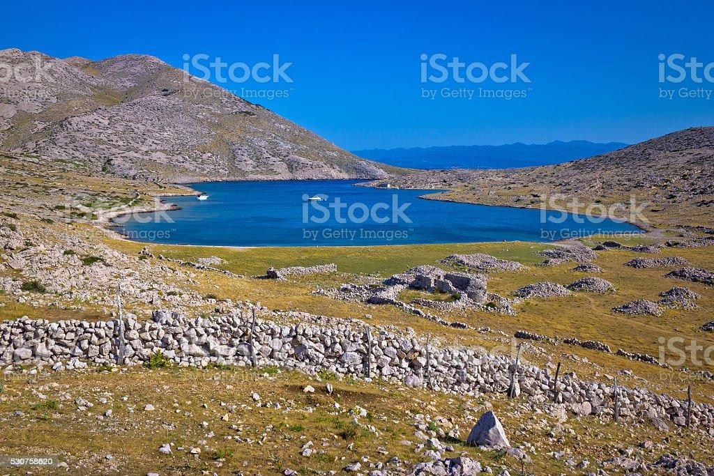 Sailing bay in Mala Luka stone desert stock photo