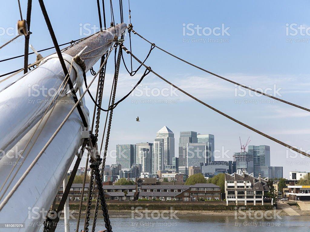 Sailing boat and Canary Wharf, London stock photo