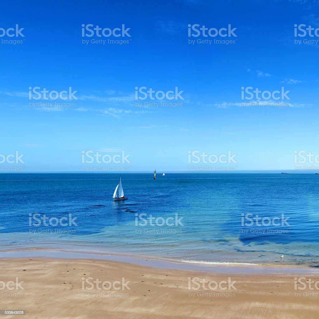 Sailing boat at Margate, England stock photo