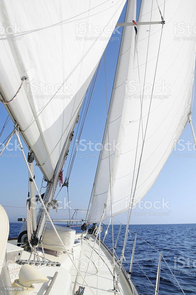 Sailing boat at sea royalty-free stock photo