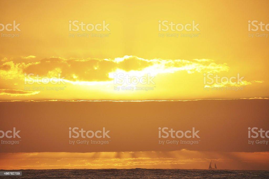 Sailing boat at Sunrise royalty-free stock photo