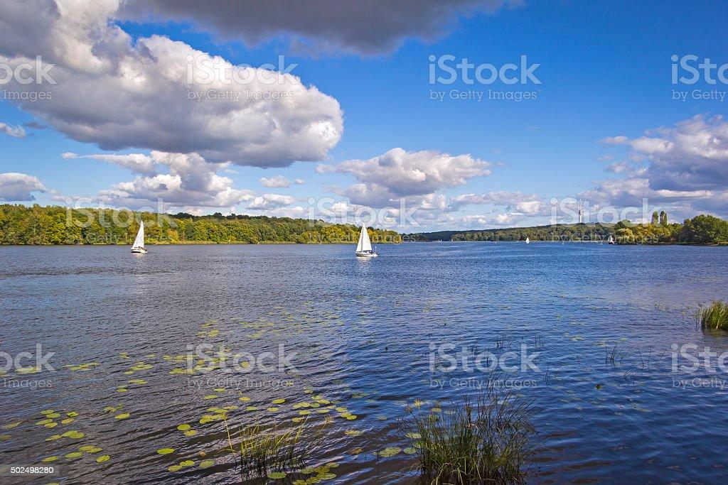 Sailing boat at the River Havel, Potsdam stock photo