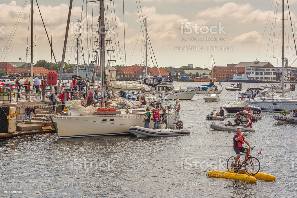 Sailing boat back in Copenhagen after circumnavigation stock photo
