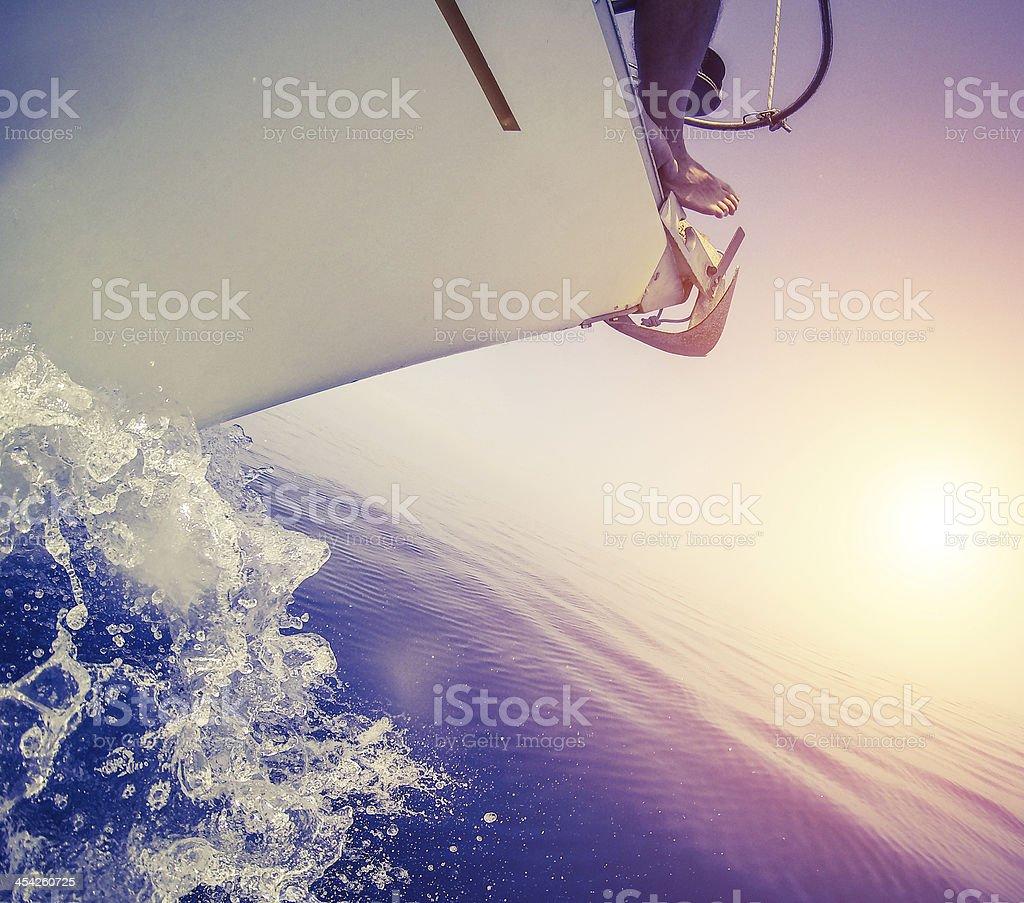Sailing Boat bow during cruise royalty-free stock photo