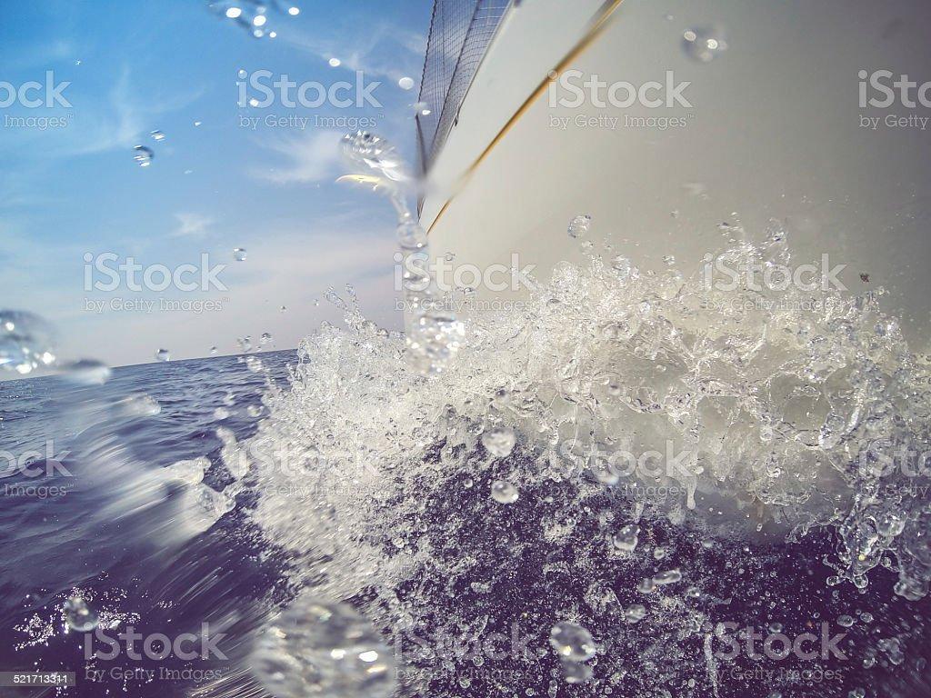 Sailing Boat bow during cruise stock photo
