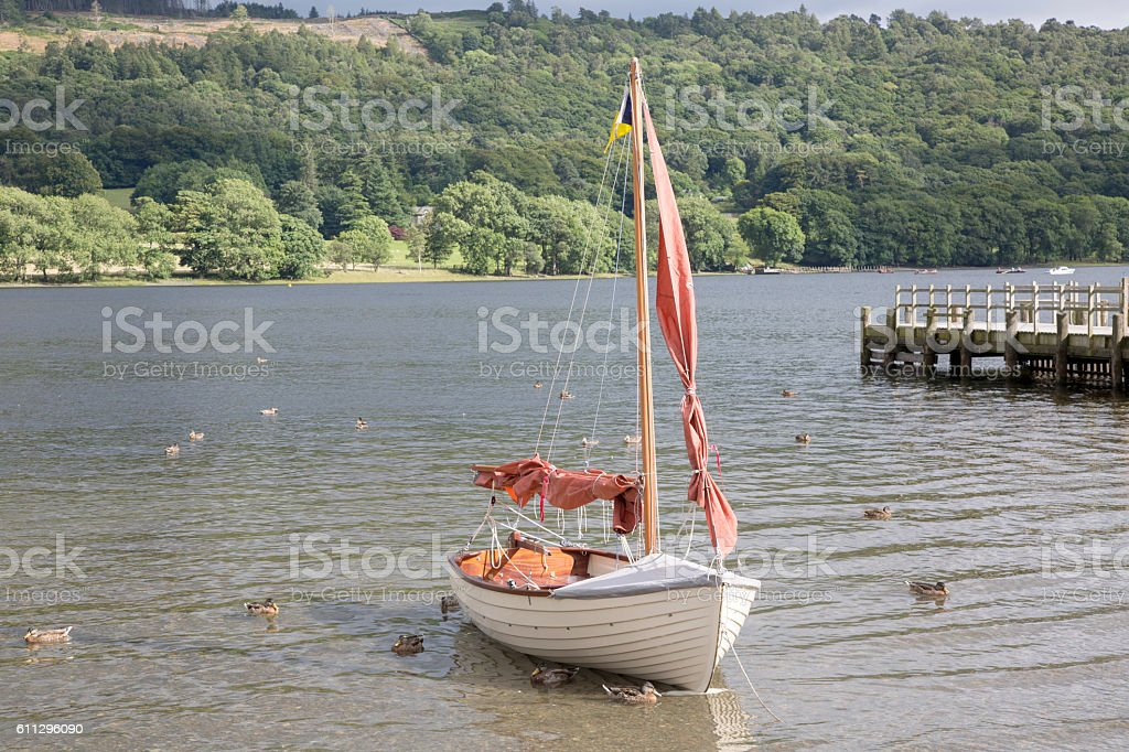Sailing Boat, Coniston Water, Lake District stock photo
