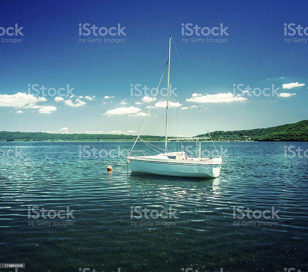 Sailing Boat Crossprocessed royalty-free stock photo
