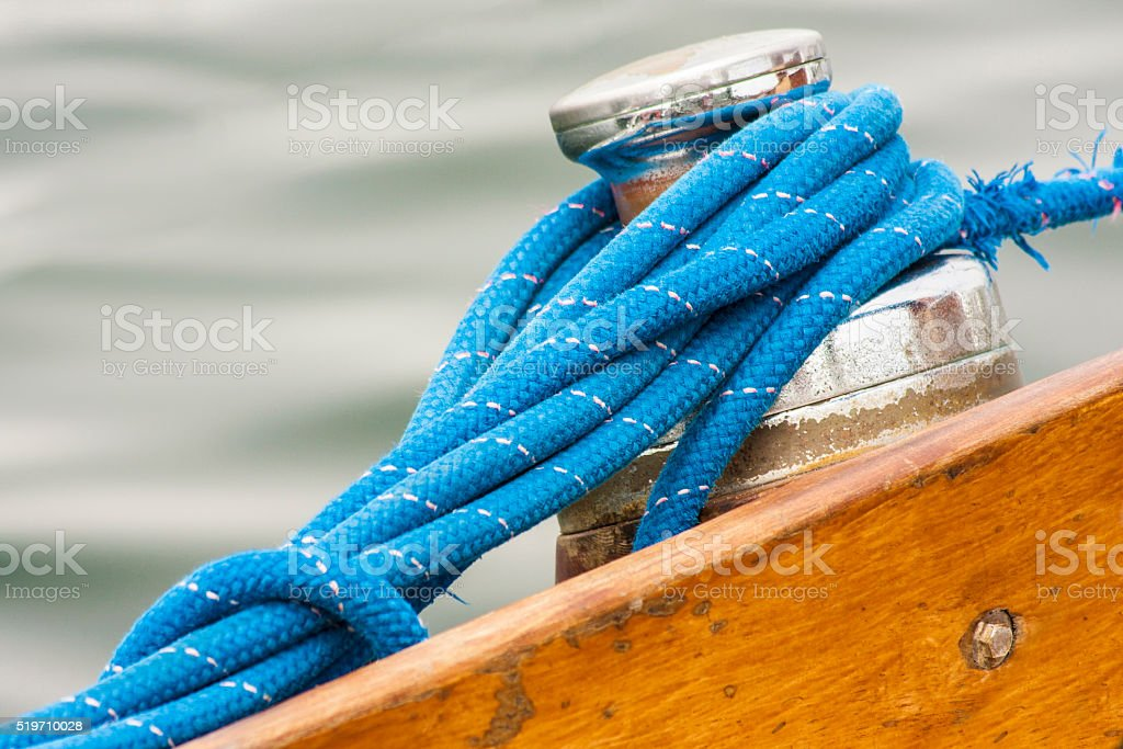 Sailing boat detail - from the capstan rope sailing stock photo