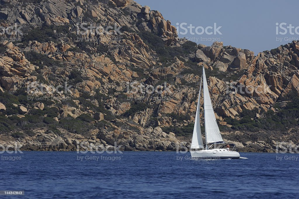 sailing boat in Corsica royalty-free stock photo