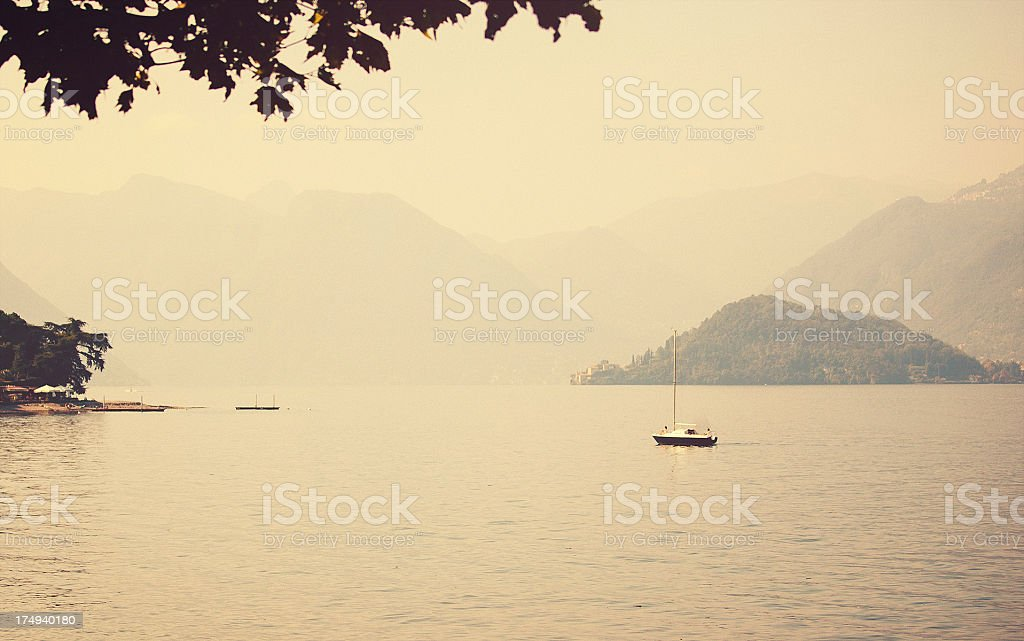 sailing boat in Lake Como stock photo