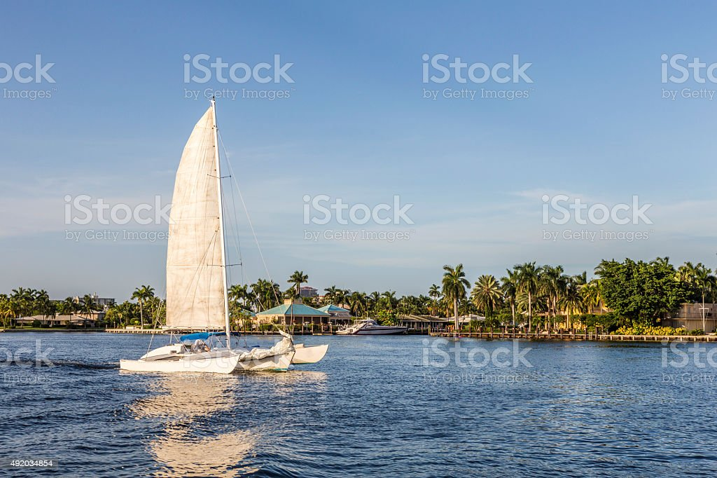 sailing boat in the canal in Fort Lauderdale stock photo