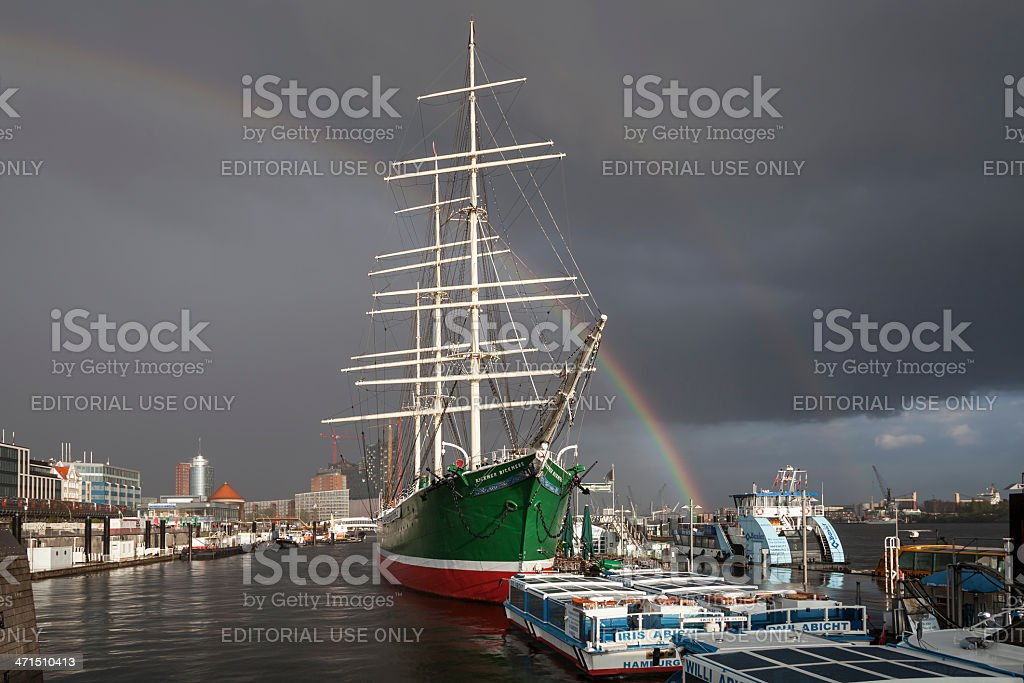 Sailing boat in the Hamburg Harbour royalty-free stock photo