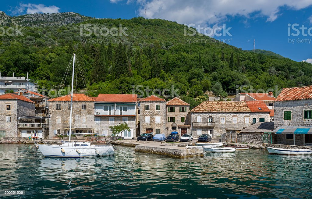 Sailing boat in the old mediterranean village stock photo