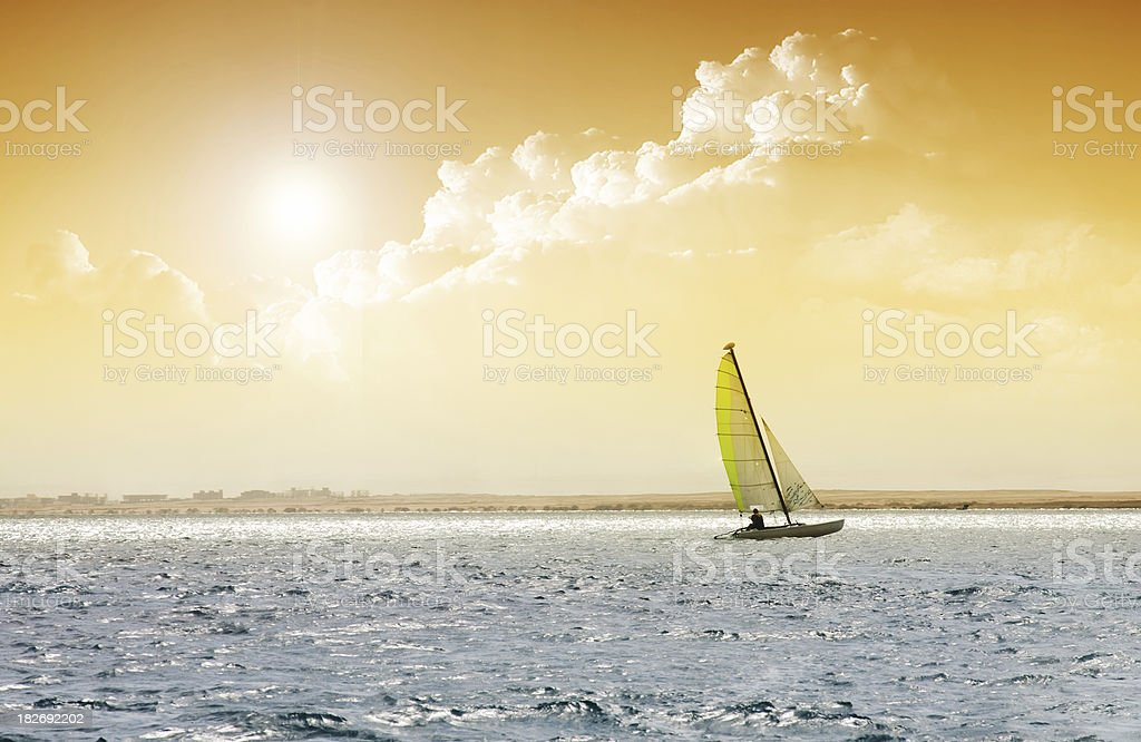 Sailing boat in the sea royalty-free stock photo