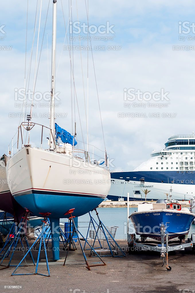 Sailing boat maintenance stock photo