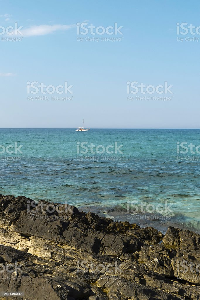 Sailing boat on adriatic sea. stock photo