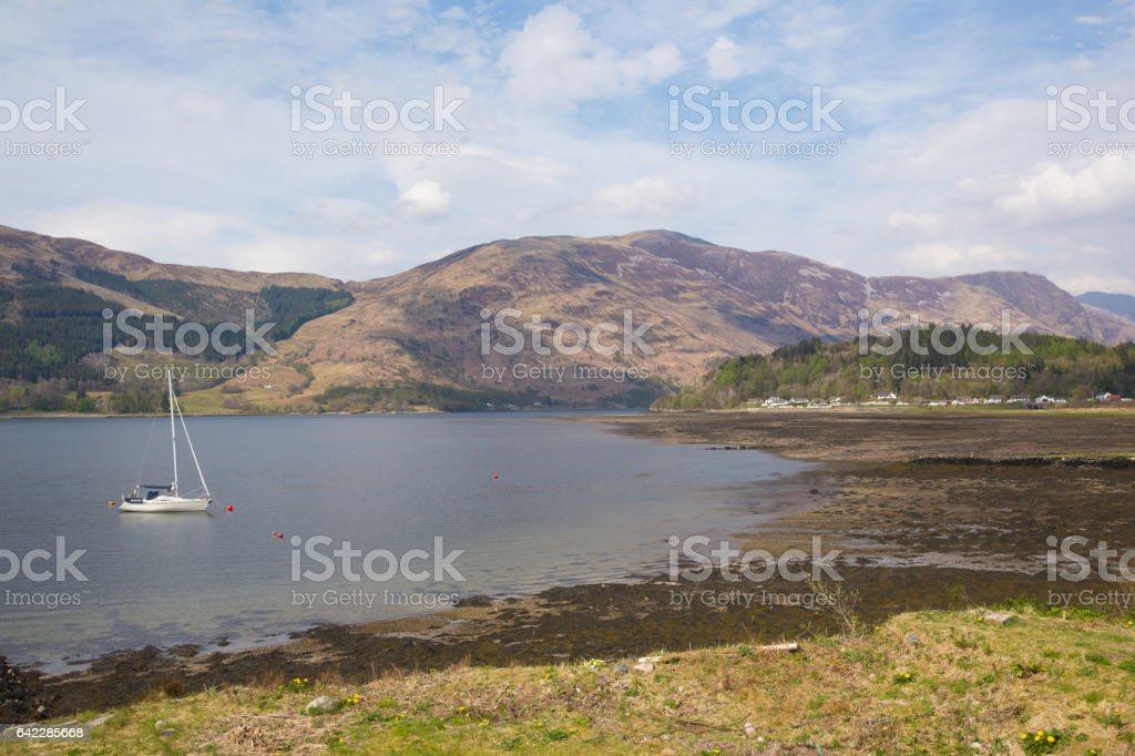 Sailing boat on Loch Leven Scottish lake Scotland Scottish Highlands stock photo