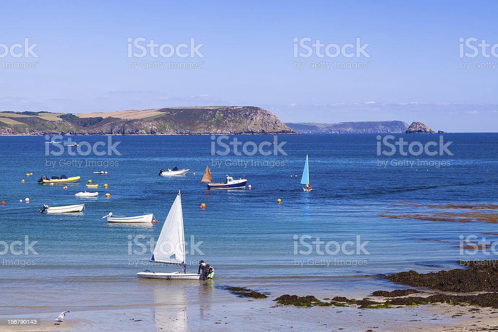 Sailing boat on the beach royalty-free stock photo