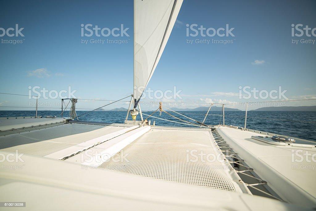 Sailing boat on the Whitsundays Islands in Australia stock photo