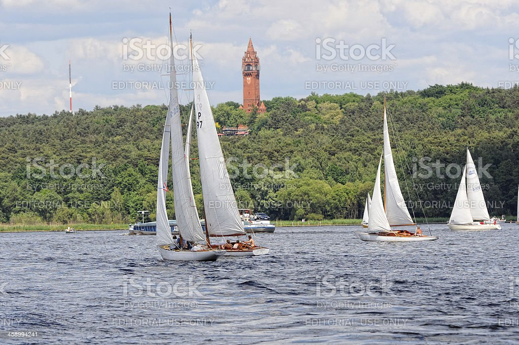 Sailing boat on Wannsee and Grunewald Tower (Berlin - Germany) stock photo